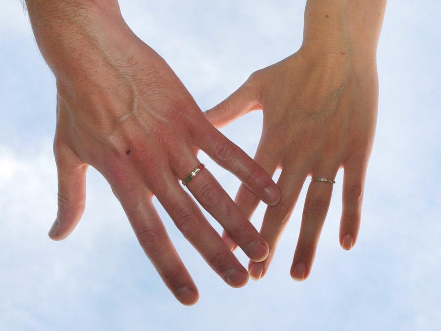 結婚指輪を着けている夫婦