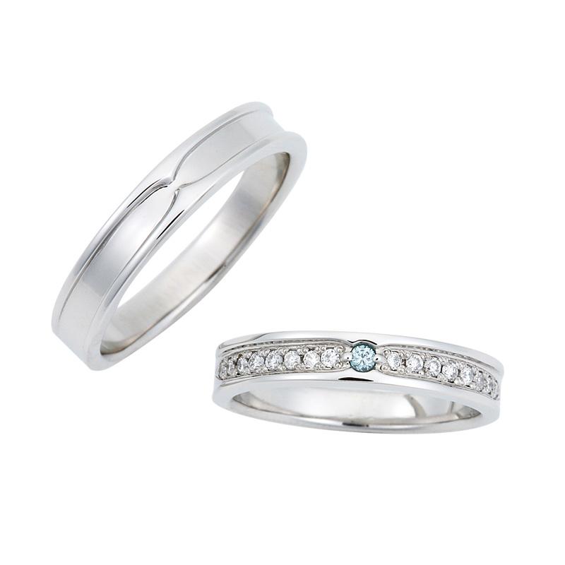 ブルーダイヤモンドの結婚指輪
