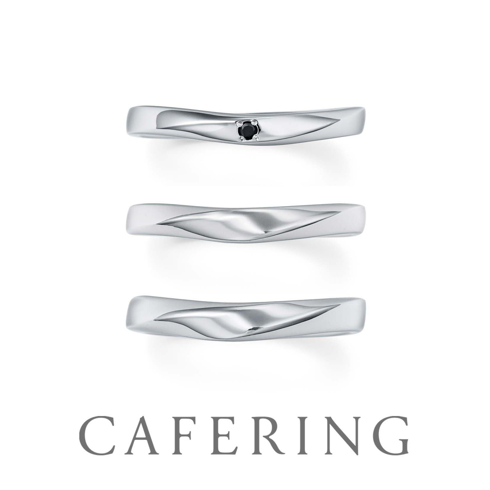 CAFERINGのブラックダイヤモンドの結婚指輪
