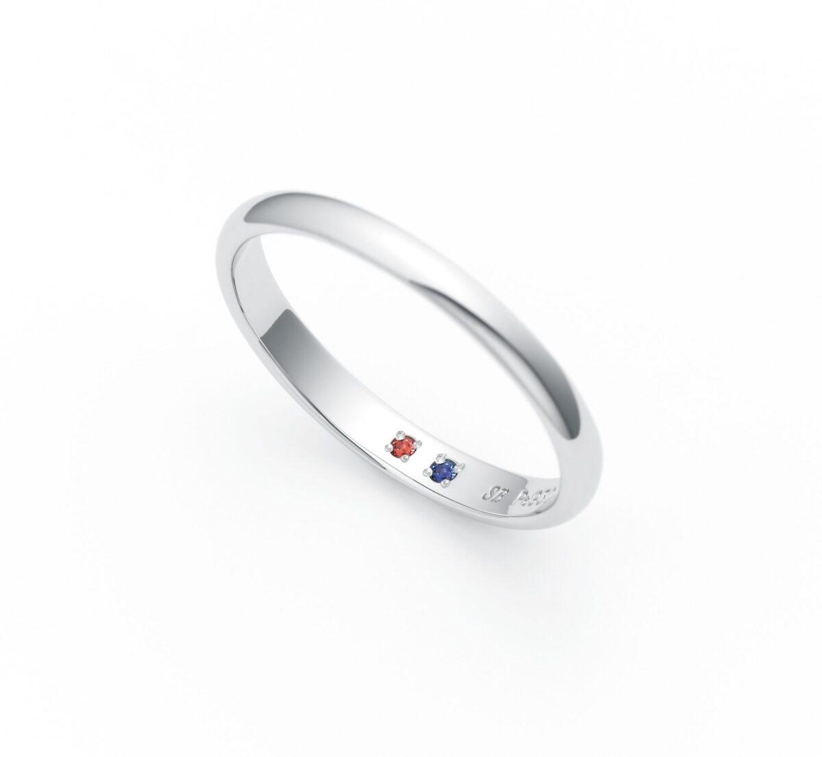 サムシングブルーの結婚指輪のインサイドストーンの画像